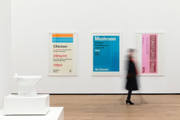 Installation view, Amuse-Bouche: The Taste of Art, Museum Tinguely, Basel, February 19–July 26, 2020. Artwork, left to right: © Opavivará!; © Damien Hirst and Science Ltd. All rights reserved, DACS 2020. Photo: Gina Folly © 2020 Museum Tinguely, Basel