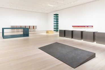 Installation view, Donald Judd, Museum of Modern Art, New York, March 1, 2020–January 9, 2021. Artwork © 2020 Judd Foundation/Artists Rights Society (ARS), New York