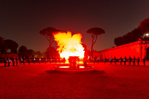 Piero Golia's performance of Roman Trilogy at Académie de France à Roma - Villa Medicis, Rome, 2016. Artwork © Piero Golia. Photo: Sebastiano Luciano