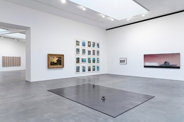 Installation view, American Pastoral, Gagosian, Britannia Street, London, January 23–March 14, 2020. Artwork, left to right: © Theaster Gates, © Adam McEwen, Thomas Moran, © Richard Prince, © Banks Violette, © Ed Ruscha. Photo: Lucy Dawkins