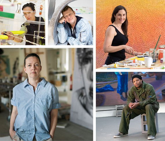 Clockwise from top left: Sarah Sze, photo: courtesy MacArthur Foundation; Urs Fischer, photo: Chad Moore; Jennifer Guidi, photo: Brica Wilcox; Titus Kaphar, photo: John Lucas; and Jenny Saville, photo: Pal Hansen/Getty Images
