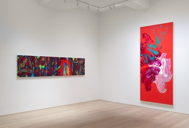 Installation view, David Reed: New Paintings, Gagosian, 980 Madison Avenue, New York, January 10–February 22, 2020. Artwork © 2020 David Reed/Artists Rights Society (ARS), New York. Photo: Rob McKeever