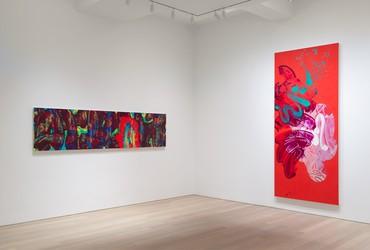 Installation view, David Reed: New Paintings, Gagosian, 980 Madison Avenue, New York, January 10–February 22, 2020. Artwork © 2020 David Reed/Artists Rights Society (ARS), New York. Photo: Rob McKeever