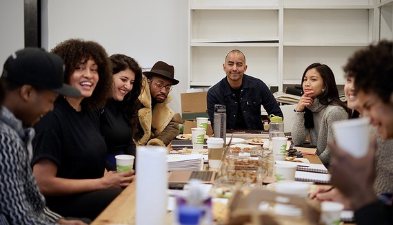 Left to right: Titus Kaphar, Nico Wheadon, and 2020–21 NXTHVN Fellows, New Haven, Connecticut. Photo: John Dennis, courtesy NXTHVN