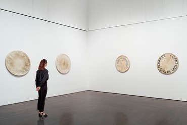 Installation view, Ed Ruscha: Drum Skins, Blanton Museum of Art, Austin, Texas, January 11–July 12, 2020. Artwork © Ed Ruscha