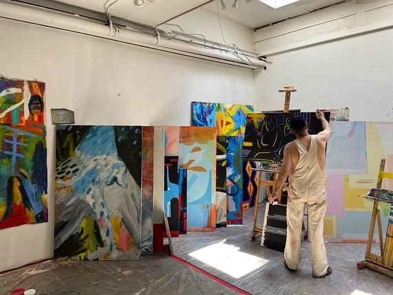 Spencer Sweeney in his studio, New York, 2020. Artwork © Spencer Sweeney. Photo: Pete Sieper