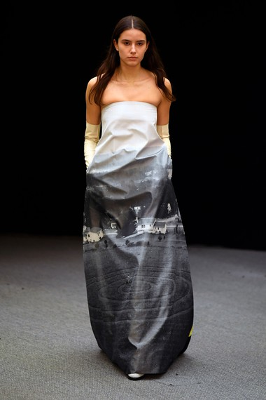 Dress from Namacheko's Autumn/Winter 2020 collection featuring an image from Gregory Crewdson's Hover series