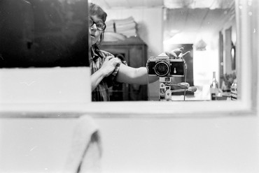 Jay DeFeo, Self-Portrait with Camera, Larkspur Studio, CA, 1972 © 2020 The Jay DeFeo Foundation/Artists Rights Society (ARS), New York