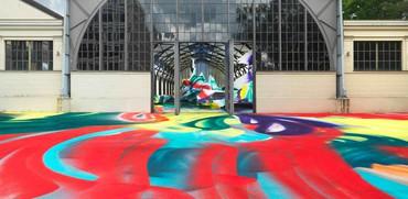 Installation view, Katharina Grosse: It Wasn't Us, Hamburger Bahnhof–Museum für Gegenwart, Berlin, June 1, 2020–January 10, 2021. Artwork © Katharina Grosse and VG Bild-Kunst, Bonn 2020. Photo: Jens Ziehe