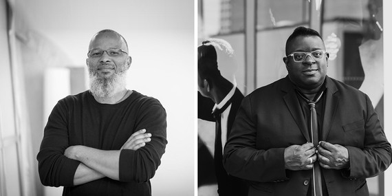 Meleko Mokgosi (left). Photo: courtesy Vilcek Foundation. Isaac Julien (right). Photo: Thierry Bal