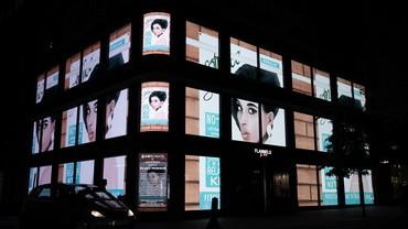 Meleko Mokgosi's digital art installation for the facade of Flannels, London, 2020. Artwork © Meleko Mokgosi. Photo: courtesy W1 Curates