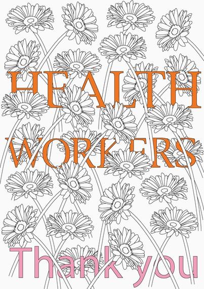 Michael Craig-Martin's poster thanking health workers around the world, 2020