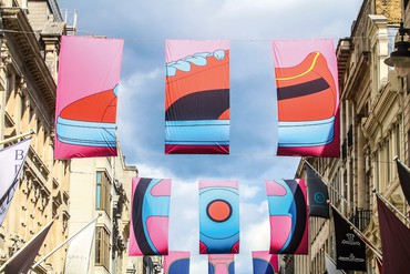 Michael Craig-Martin's installation of flags on Bond Street, London, 2019