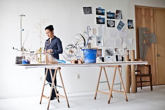 Sarah Sze in her studio, New York, 2015