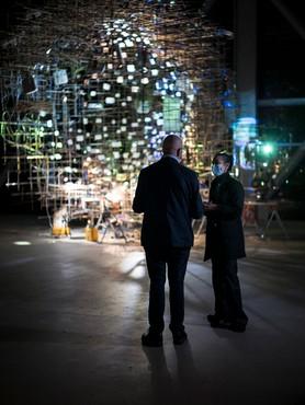 Sarah Sze and Bruno Latour in the exhibition Sarah Sze: Night into Day at Fondation Cartier pour l'art contemporain, Paris. Artwork © Sarah Sze. Photo © Édouard Caupeil