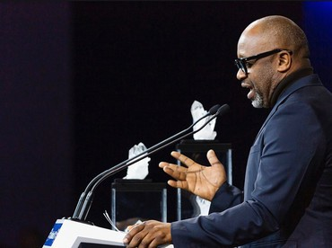 Theaster Gates speaking at the 2020 World Economic Forum in Davos, Switzerland