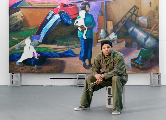 Titus Kaphar in his studio with his painting The Aftermath (2020), New Haven, Connecticut, 2020. Artwork © Titus Kaphar. Photo: John Lucas