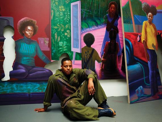 Titus Kaphar in his studio, New Haven, Connecticut, 2020. Artwork © Titus Kaphar