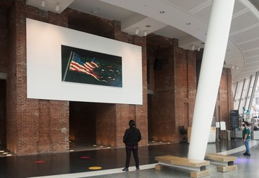 Ed Ruscha's Our Flag (2017) on display in the Robert A. and Martha S. Rubin Pavilion at the Brooklyn Museum, New York, September 30–December 13, 2020. Artwork © Ed Ruscha. Photo: Jonathan Dorado