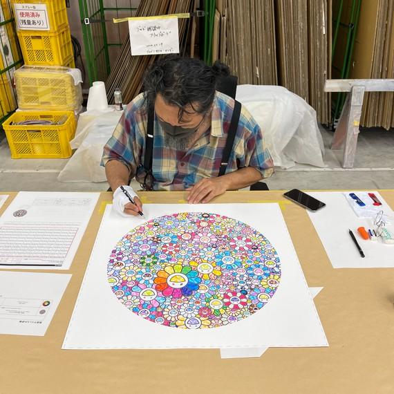Takashi Murakami signing his print Thank You for the Wonderful Destiny (2020) in his studio, Saitama, Japan. Artwork © 2020 Takashi Murakami/Kaikai Kiki Co., Ltd. All rights reserved