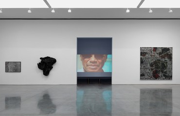 Installation view, Social Works: Curated by Antwaun Sargent, Gagosian, 555 West 24th Street, New York, June 24–September 11, 2021. Artwork, left to right: © Zalika Azim, © Allana Clarke, © Linda Goode Bryant, © Rick Lowe Studio. Photo: Rob McKeever