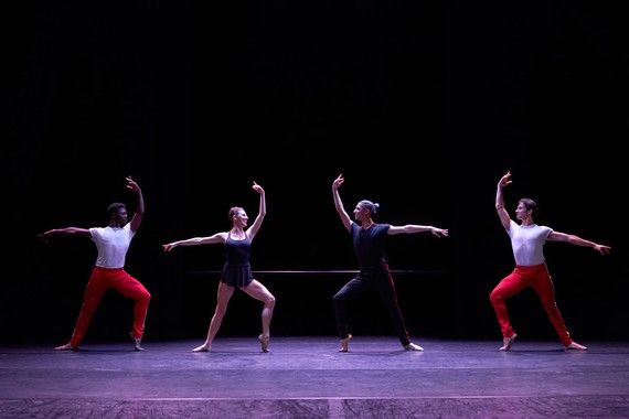 William Forsythe, The Barre Project (Blake Works II), 2021, performed by (left to right) Brooklyn Mack, Tiler Peck, Lex Ishimoto, and Roman Mejia