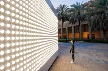 Carsten Höller's Light Wall(Outdoor Version), 2021, installation view, King Abdulaziz Historical Center, Riyadh © Carsten Höller. Photo: © Riyadh Art