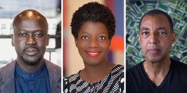 Left: David Adjaye. Photo: Alex Fradkin, courtesy Adjaye Associates. Middle: Thelma Golden. Photo: Julie Skarratt. Right: Rick Lowe. Photo: Brent Reaney