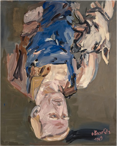 Georg Baseltiz, Der werktätige Dresdener – Porträt M.G.B. (Working Man from Dresden - Portrait of M.G.B), 1969, Metropolitan Museum of Art, New York, Gift of the Baselitz Family, 2020 © Georg Baselitz. Photo: Jochen Littkemann
