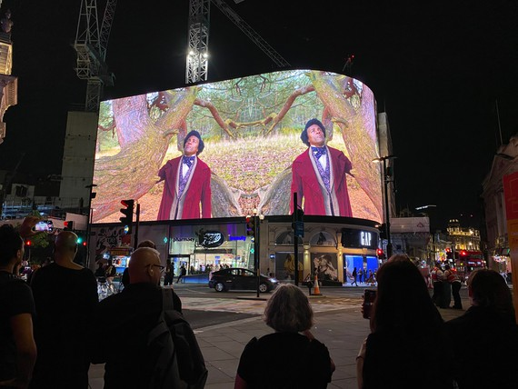 Isaac Julien's Lessons of the Hour – Frederick Douglass (Doppelgänger) (2021) on Piccadilly Lights, London, 2021