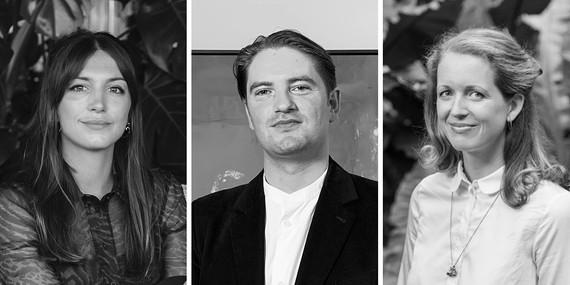 Left: Katy Hessel. Photo: Luke Fullalove. Middle: Matthew Holman. Right: Eleanor Nairne. Photo: Max Colson