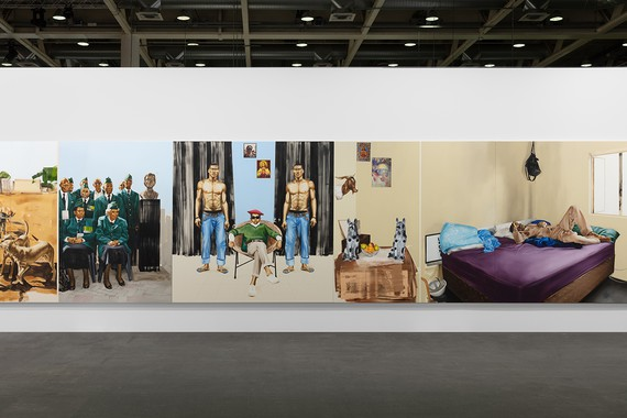 Meleko Mokgosi, Bread, Butter, and Power, 2018 (detail), installation view, Art Basel Unlimited © Meleko Mokgosi. Photo: Sebastiano Pellion di Persano