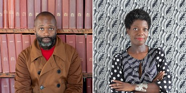 Left: Theaster Gates. Photo: Sara Pooley. Right: Thelma Golden. Photo: Julie Skarratt