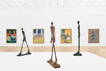 Installation view, Bacon Giacometti, Fondation Beyeler, Riehen/Basel, April 29–September 2, 2018. Artwork by Francis Bacon © The Estate of Francis Bacon. All rights reserved/2018, ProLitteris, Zurich. Artwork by Alberto Giacometti © Succession Alberto Giacometti/2018, ProLitteris, Zurich. Photo: Mark Niedermann