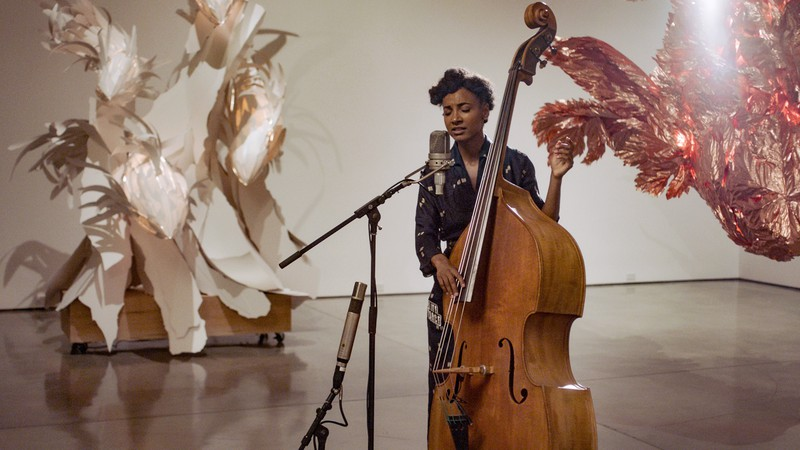 esperanza spalding performing in Frank Gehry: Spinning Tales at Gagosian, Beverly Hills