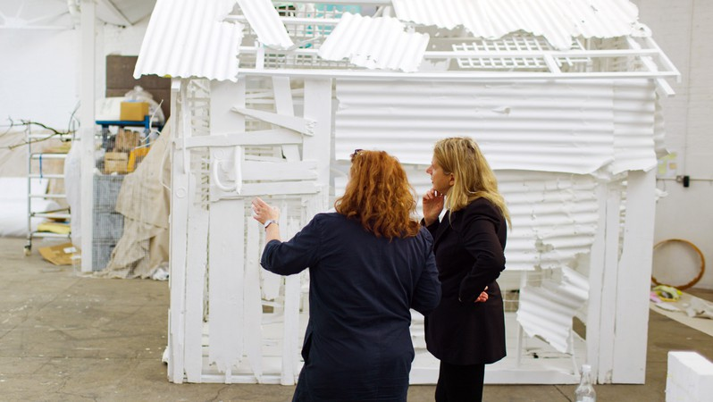 Rachel Whiteread and Iwona Blazwick in Whiteread's studio, London, 2021