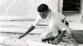 Helen Frankenthaler in her studio in Provincetown. Black and white image.