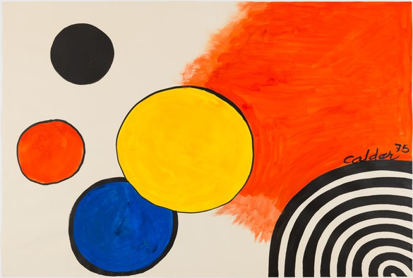 Alexander Calder, Occident, 1975, gouache and ink on paper, 29 ½ × 43 ¾ inches (74.9 × 109.9 cm)