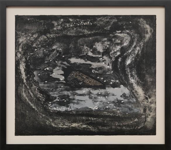 Ellen Gallagher, Lips Sink, 2016, lithograph, unframed: 20 × 23 ⅝ inches (50.6 × 59.2 cm), edition of 20 © Ellen Gallagher