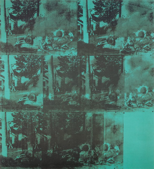 Andy Warhol, Green Car Crash, 1963 (detail), acrylic and silkscreen ink on linen, 90 × 80 inches (228.6 × 203.3 cm). Private collection. Photo: Rob McKeever