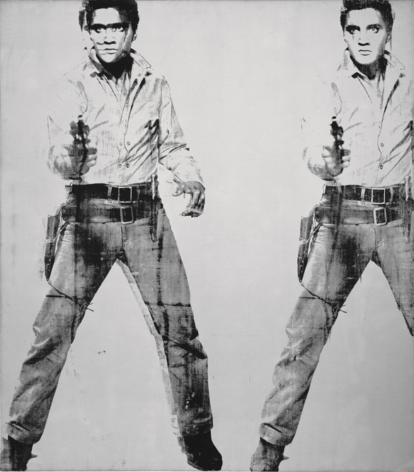 Andy Warhol, Triple Elvis, 1963, silkscreen ink and silver paint on linen, 82 ¼ × 72 inches (208.9 × 182.9 cm)