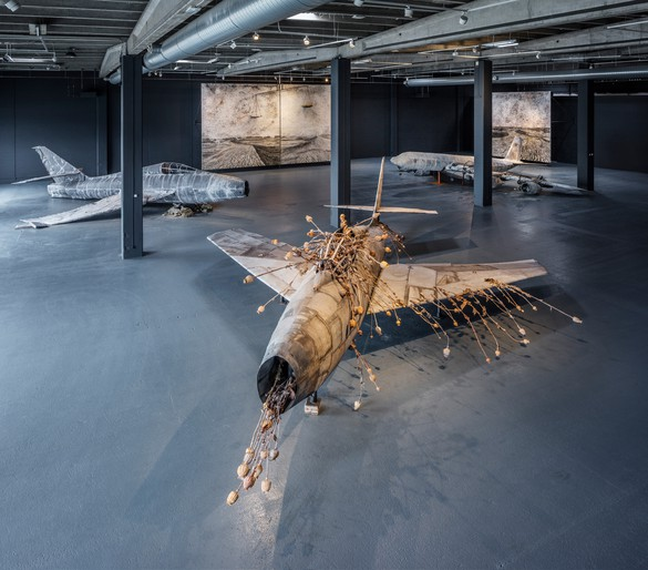 Installation view, Anselm Kiefer: For Louis-Ferdinand Céline: Voyage au bout de la nuit, Copenhagen Contemporary, April 1–August 6, 2017. Photo by Anders Sune Berg
