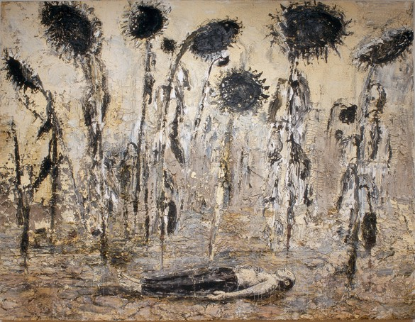 Anselm Kiefer, The Orders of the Night (Die Orden der Nacht), 1996, emulsion, acrylic and shellac on canvas, 140 ⅜ × 182 ⅜ inches (356 × 463 cm). Photo © Seattle Art Museum