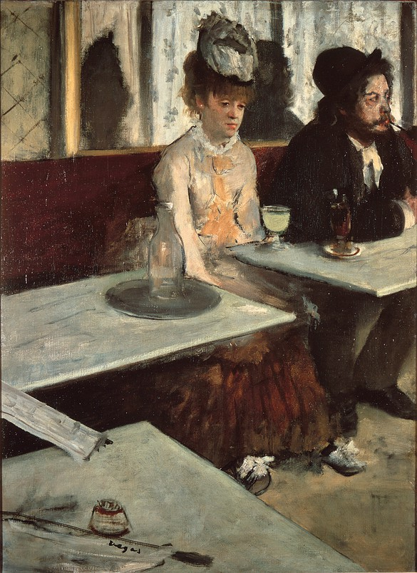 Edgar Degas, In a Café, Absinthe Glass, 1875–76, oil on canvas, 36 ¼ × 26 ¾ inches (92 × 68.5 cm). © RMN-Grand Palais/Art Resource, NY. Photo by Martine Beck-Coppola