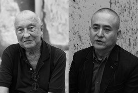 Georg Baselitz and Zeng Fanzhi. Portraits of both artists in black-and-white.