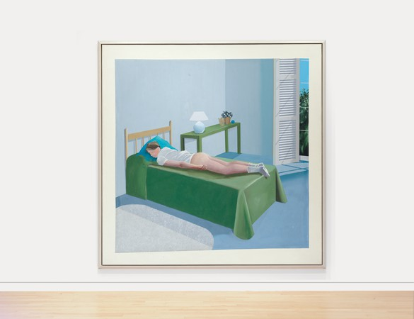 David Hockney, The Room, Tarzana, 1967, acrylic on canvas, 95 ⅜ × 95 ⅜ inches (242.3 × 242.3 cm). Private collection