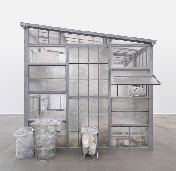 Robert Therrien, Transparent Room, 2010, steel, glass, and plastic, 145 × 108 × 156 inches (368.3 × 274.3 × 396.2 cm). Photo by Jens Ziehe/Photographie