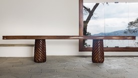 Original walnut and pine table conceived in 1941 by Curzio Malaparte in situ at Casa Malaparte, Capri
