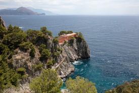 A photograph of the Casa Malaparte house in Capri, Italy.