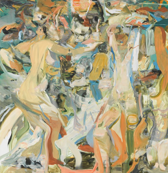 Cecily Brown, The river's tent is broken, 2014, oil on linen, 67 × 65 inches (170.2 × 165.1 cm)